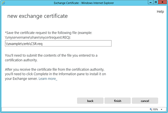 Microsoft Exchange 2013 CSR Creation Step 10