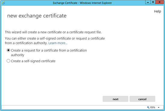 Microsoft Exchange 2013 CSR Creation Step 3