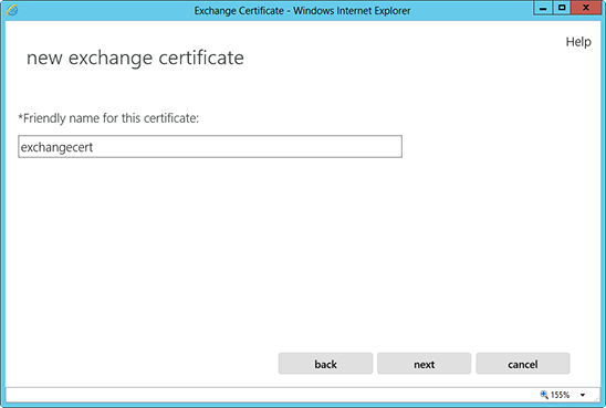 Microsoft Exchange 2013 CSR Creation Step 4