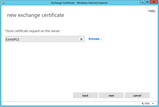 Microsoft Exchange 2013 CSR Creation Step 6