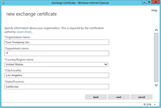 Microsoft Exchange 2013 CSR Creation Step 9