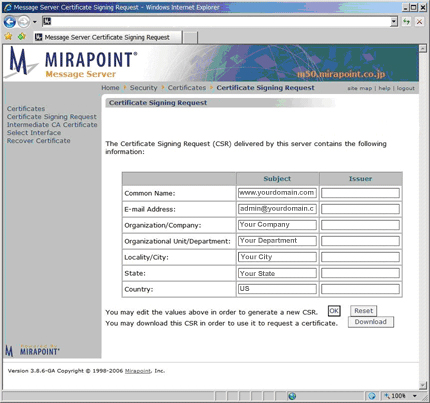 Certificate Signing Request (CSR) For Mirapoint Message Server