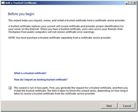 Microsoft SBS Server 2008 CSR Creation Step 2