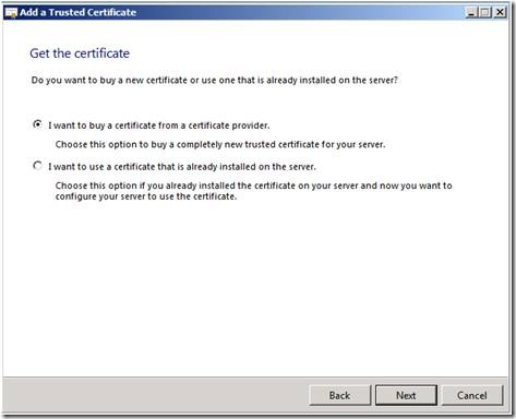 Microsoft SBS Server 2008 CSR Creation Step 3
