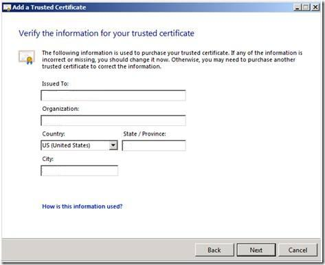 Microsoft SBS Server 2008 CSR Creation Step 4