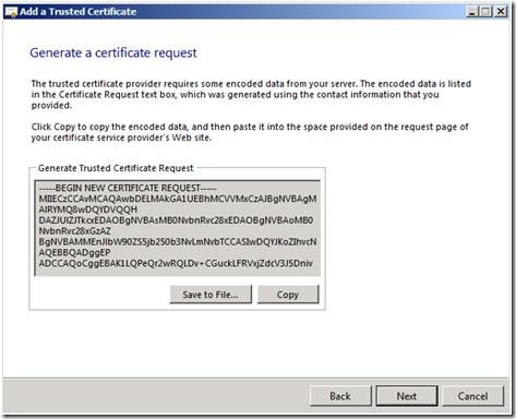 Microsoft SBS Server 2008 CSR Creation Step 5