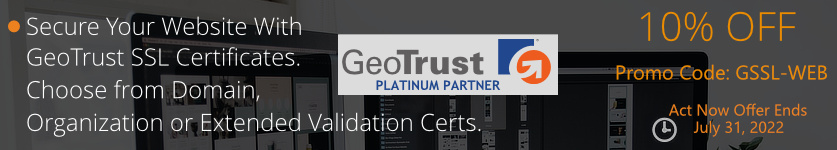 Certs 4 Less Is Offering 10% Off All GeoTrust SSL Certificates During The Month Of December