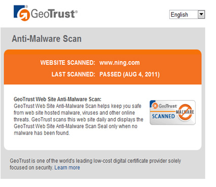 Geotrust Anti-Malware Scan Seal  Splash Page