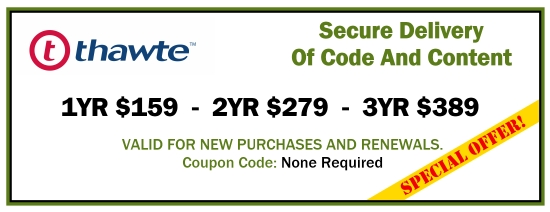 $199 New Thawte Code Signing Certificate Coupon - PROMO CODE: NOT REQUIRED
